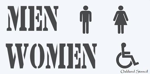 Ensemble De Salle De Bain Toilettes Pochoir Hommes Femmes Handicap Hommes Femmes Symbole 4 Tall Pour Les Traces De Peinture Aérographe