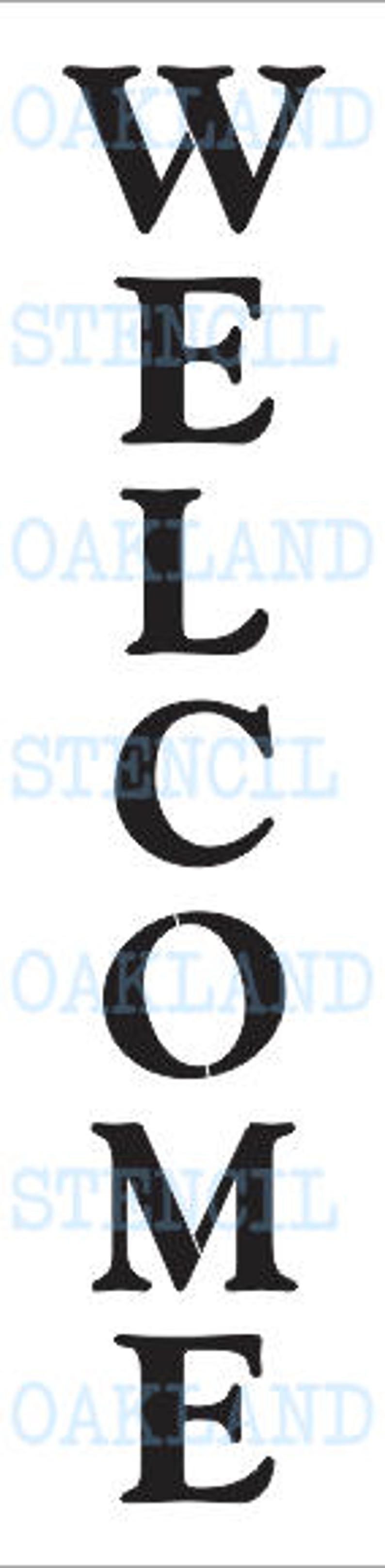 WELCOME STENCIL Vertical for Painting Porch Signs Entryway image 0