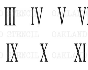 Horloge pochoir romain chiffres horloge 7 tailles pour la