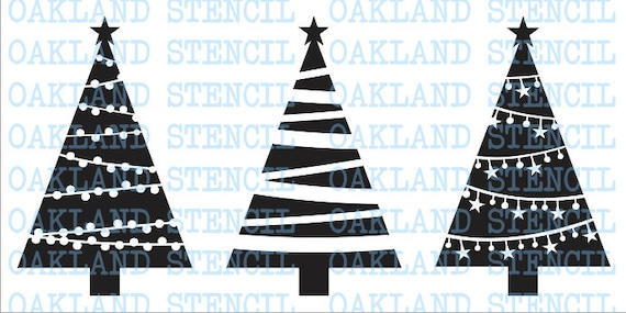 Christmas Tree STENCILS Set Of 3 Different For Painting