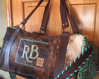 9706de83a06c Custom made to order Cowhide and Leather Duffel Bag with extra Strap