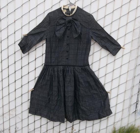 Vintage Dress Large 1950s 1940s Semi Sheer Bow Chu