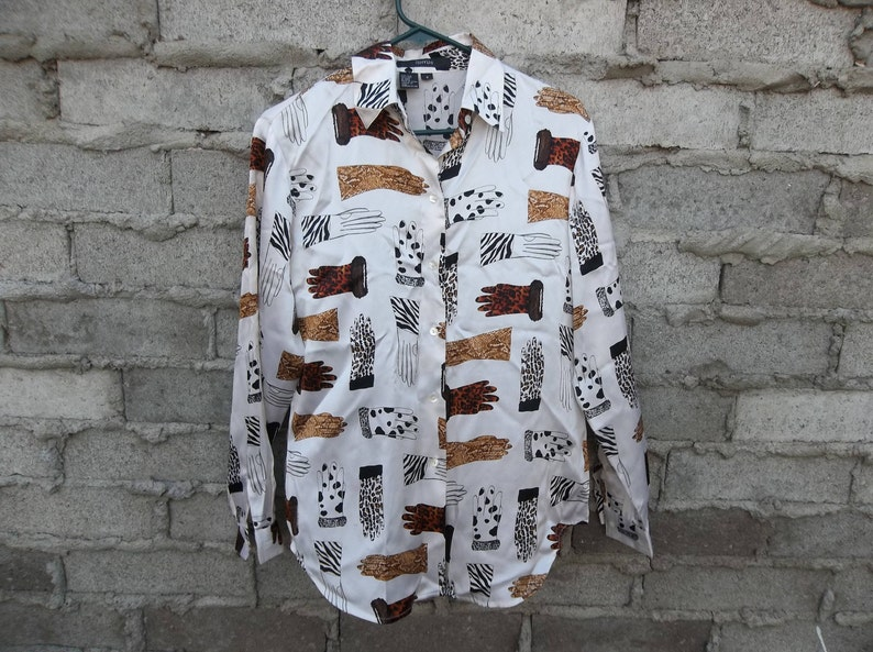 2a76d2f6 Vintage Silk Blouse Baroque Versace Style 1990s 80s Animal   Etsy