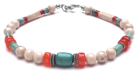 569cc71453f71 Mens Chakra Bracelet, Sacral Chakra Jewelry, Carnelian & Turquoise, Healing  Crystal Bracelets Personal Power Reiki, Jewels for Gents
