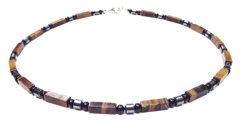 Tigers Eye Bead Necklace Authentic Crystal Healing Necklace Genuine Chakra Jewelry COURAGE Mens Beaded Gemstone Necklace
