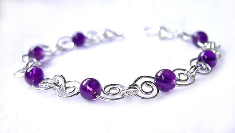4fb2037677d0fd Unique Amethyst Gemstone Bracelet February Birthstone Purple | Etsy