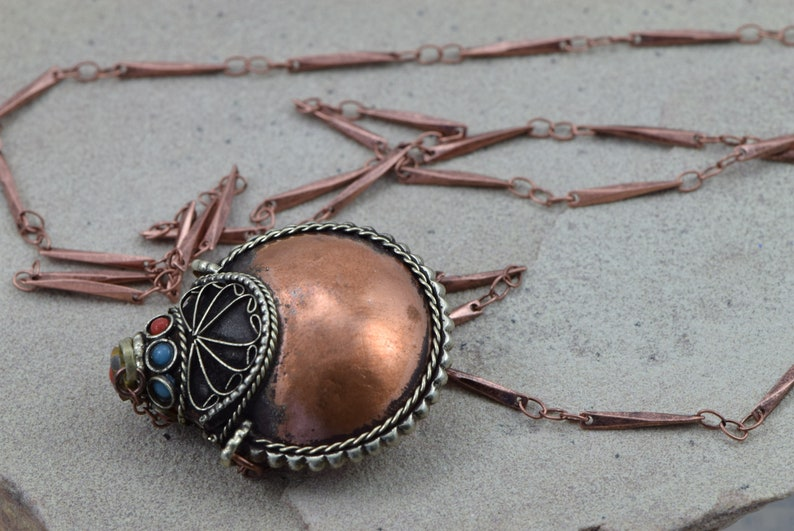 Holds sandashesoilsherbs Snuff necklace Antiqued copper finished snuff bottlecontainerjarvial necklace Spoon Antiqued copper chain