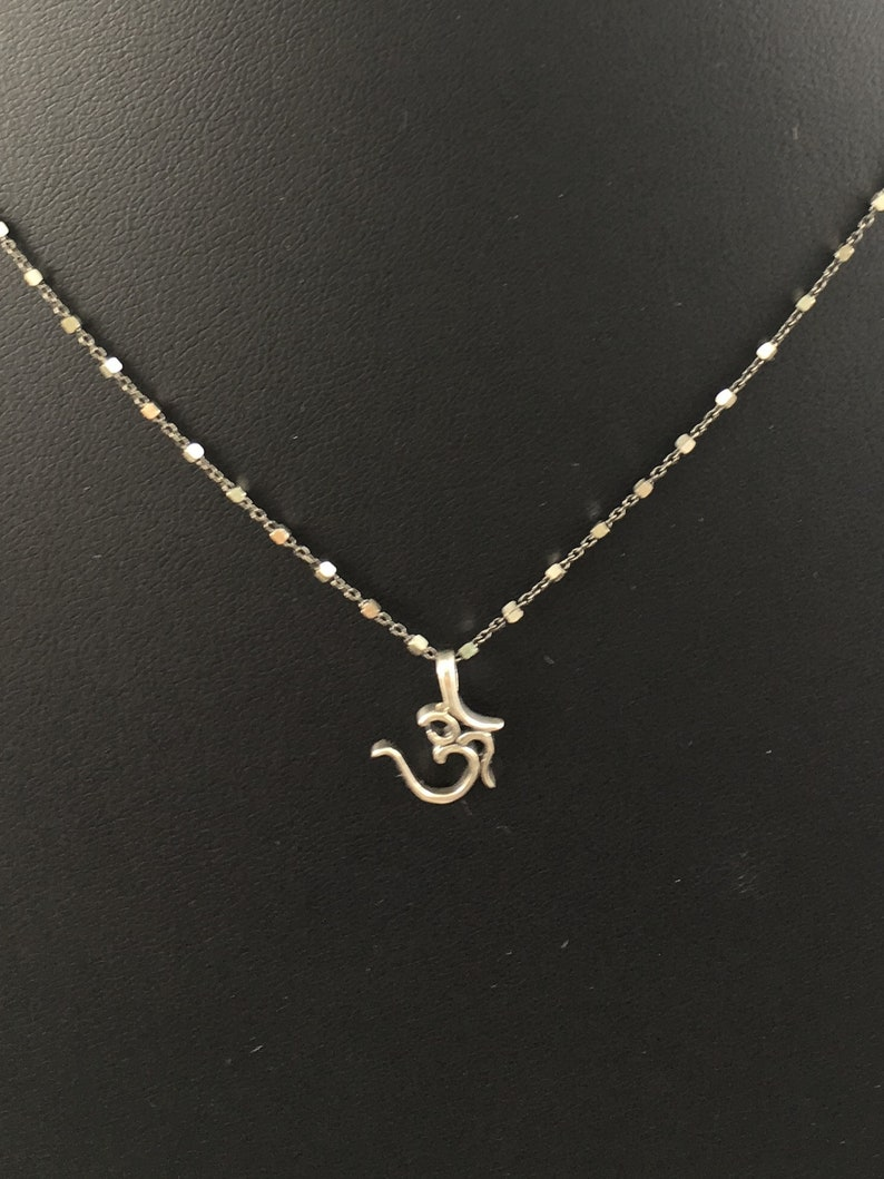 lobster clasp Silver necklace antiqued and shiny Sterling silver chain Sterling silver OM pendant necklace Yogi necklace OM necklace