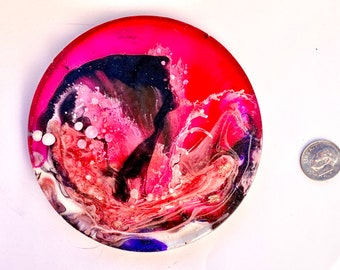Pink Black Blue Resin Art Petri Round Disc, Stained Glass Mosaic, Alcohol Ink Statue Decor, Bookshelf Tabletop Art