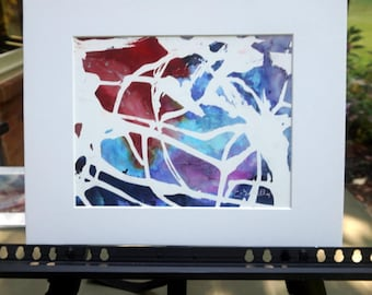 White Red Blue Abstract Ink Painting, Original Alcohol Ink Art, Abstract Wall Art, Contemporary Ink Painting