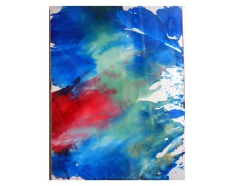 Blue Red Ink Painting, Alcohol Ink Art, Blue Abstract Painting, Framed Ink Painting, Original Abstract, Abstract Art, Ink Art, Wall Art