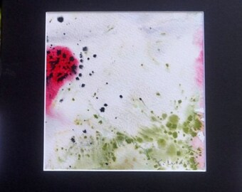 Red Green Original Watercolor, Abstract Small Watercolor Wall Art Painting, Red Green Small Matted Painting