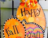 Happy fall y 39 all sign, happy fall sign, fall door sign, pumpkin door sign, fall door decor, pumpkin door hanger, halloween door sign,