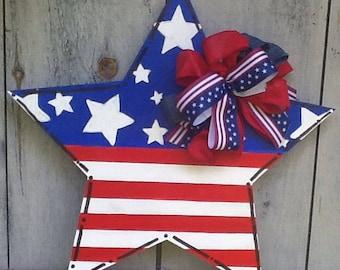 Patriotic door sign, patriotic door hanger, star door hanger, star door sign, usa door sign, USA door hanger, God Bless America door sign