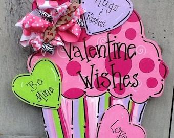 Valentines door hanger, valentines sign, cupcake sign, cupcake door hanger