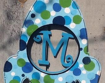 Rocket monogram sign, boys room door hanger, nursery door hanger, nursery door sign, baby boy door sign, baby boy sign, baby's room sign