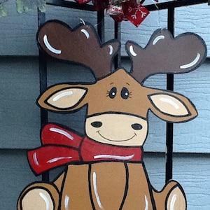 Christmas Moose Door Hanger Decor