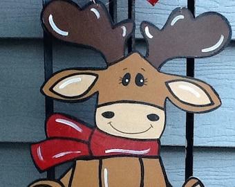 Moose door hanger, moose door sign, christmas moose sign, christmas sign, christmas door sign, holiday moose sign, holiday door hanger