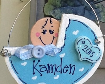 Baby boy stroller ornament, first christmas ornament, baby ornament, newborn ornament, baby christmas ornament