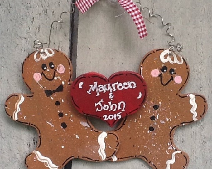 Gingerbread couple ornament,  engagement ornament, first christmas ornament, anniversary ornament, wedding ornament, couple ornament