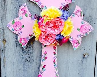 Communion cross, flower communion cross, spring cross, wedding cross, easter cross, communion cross door hanger, wedding cross door hanger