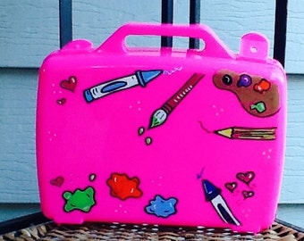art activity case, art case, school supply box, small toy box, art supply box, kids school supply box, kids art box, girls art box