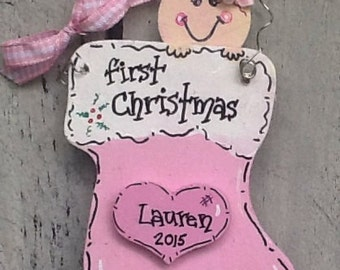 First christmas ornament, baby's first christmas sign, baby stocking ornament, baby's first christmas gift, first christmas ornament