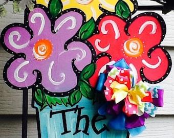 Happy summer y'all door hanger, happy summer door hanger, flower sign, Flower door hanger,