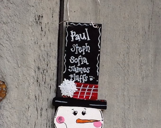 Family Snowman ornament, family name ornament, personalized ornament, snowman family ornament,  family ornament, snowman gift tag