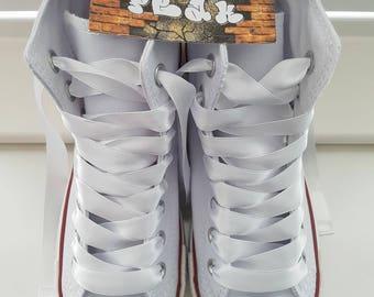 Customised blinged white converse