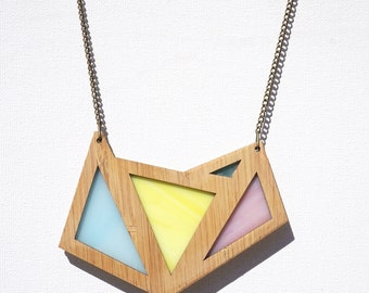Pretty Pastel Glass Foxface Wooden Pendant on chain.