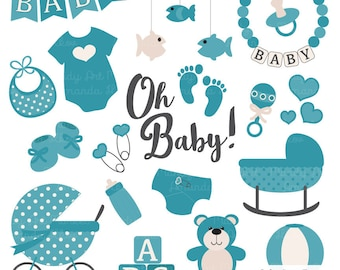premium oh baby clipart vectors set in navy navy blue baby etsy rh etsy com Animated Baby Stuff baby stuff clipart png