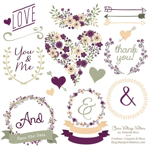 Premium Floral Clip Art Vectors Plum Purple Wedding
