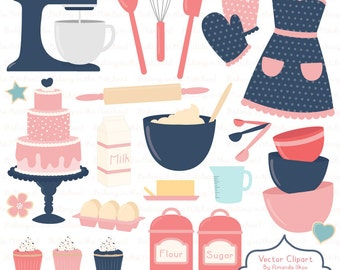 Professional Baking Clipart & Vectors in Navy and Blush - Kitchen Clipart,  Baking Vectors, Baking Clip Art, Cooking Clipart, Apron Clipart