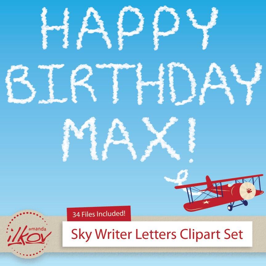 Custom Message Skywriter Clip Art Alphabet For Cards