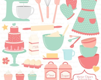 Professional Baking Clipart & Vectors in Mint and Coral - Kitchen Clipart,  Baking Vectors, Baking Clip Art, Cooking Clipart, Apron Clipart