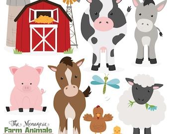 Premium Farm Animals Clip Art & Vectors - Farm Animals Clipart, Farm Animal Vectors, Barn Yard Clipart, Cow Clip Art, Horse Clip Art, Pig