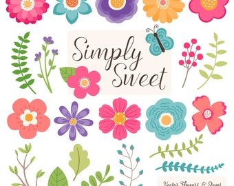 flower clipart etsy rh etsy com cute pink flower clipart cute flower clipart wallpaper