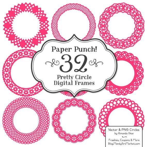 32 Premium Paper Punch Hot Pink Lace Frames Clipart & Vectors | Etsy