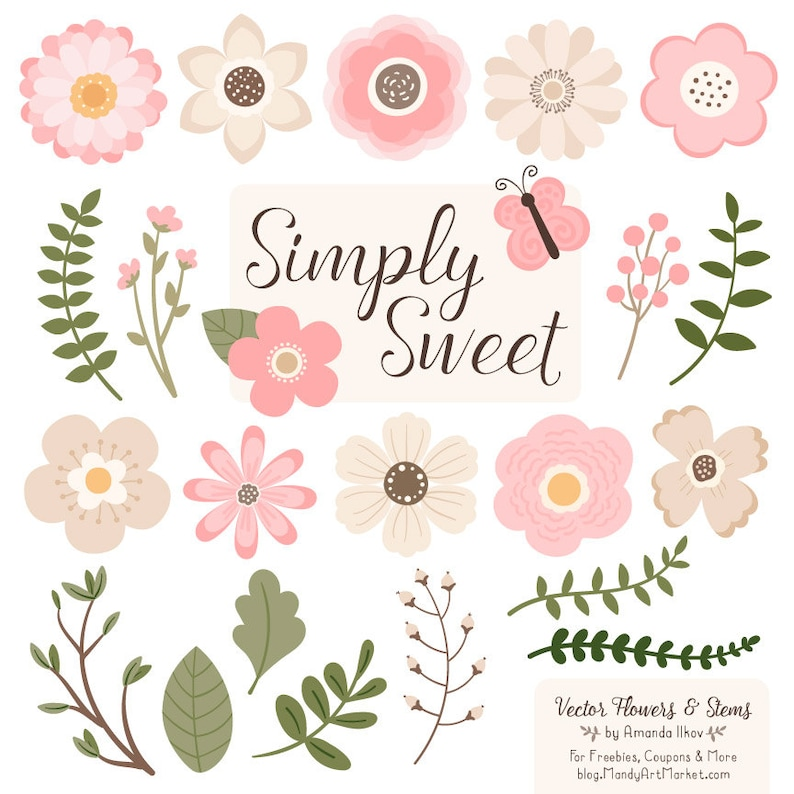 Cute Flowers Clipart In Soft Pink Soft Pink Vector Flowers Etsy