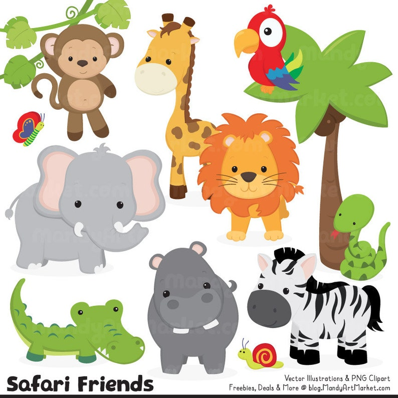 Cute Jungle Animal Clipart Cute Safari Clipart Jungle | Etsy
