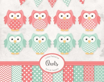 Premium Owl Clipart, Vectors & Digital Papers in Mint and Coral - Coral and Mint Owl Clip Art, Owl Vectors, Pattered Owls, Baby Owls