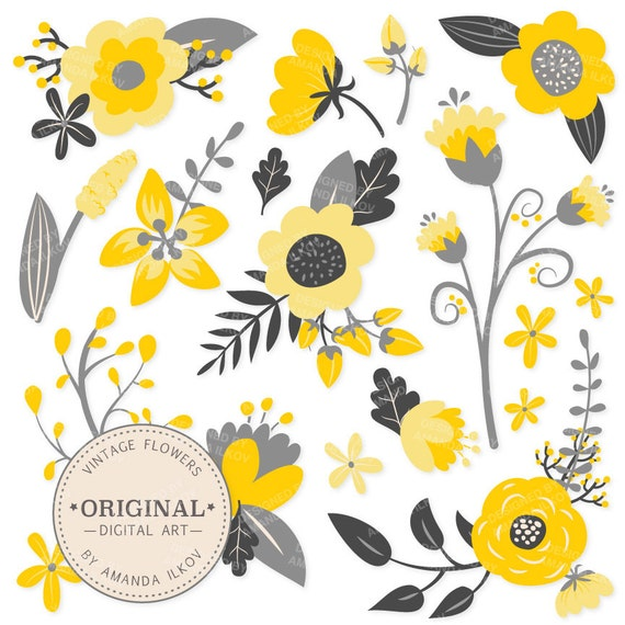 Premium Yellow Flowers Clipart Floral Vectors Yellow Etsy