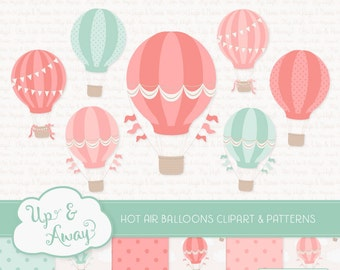 Mint & Coral Hot Air Balloons Clipart with Digital Papers - mint and coral hot air balloons clipart, hot air balloons vectors