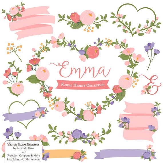 Emma Floral Heart Clipart Vectors In Wildflowers Pink Etsy