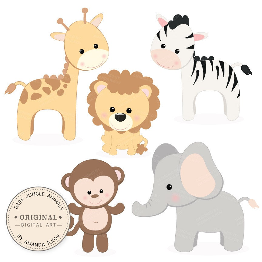 Professional Baby Jungle Animals Clipart Vector Set Baby Etsy