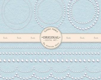 Premium Pearl Wedding Clip Art Borders & Frames - Pearl Clipart, Wedding Clipart, Pearl Digital Frames, Wedding Digital Frames, Pearl Border