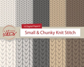 Chunky Knit & Stockinette Knit Digital Paper for Scrapbooking, Crafting and More - by Amanda Ilkov
