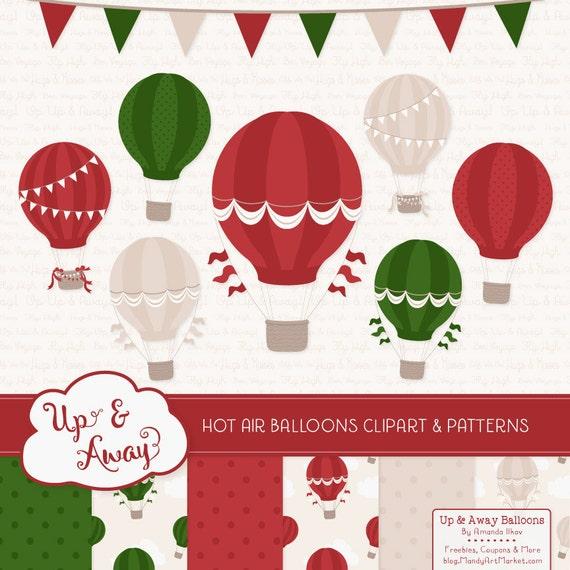 Christmas Hot Air Balloons Clipart With Digital Papers Christmas Hot Air Balloons Clipart Hot Air Balloons Vectors