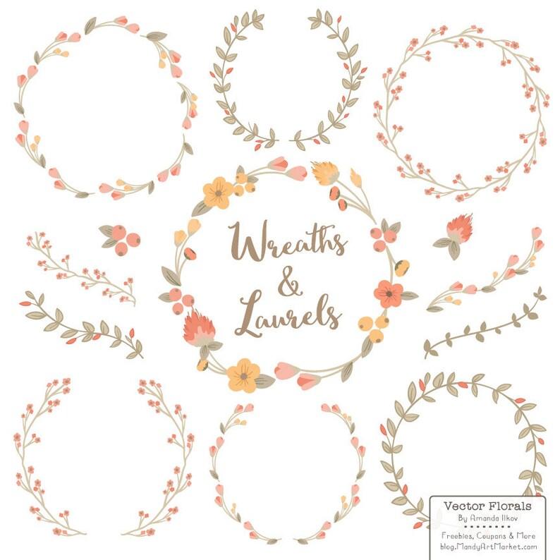 Premium Floral Wreaths & Laurels in Antique Peach  Peach image 0